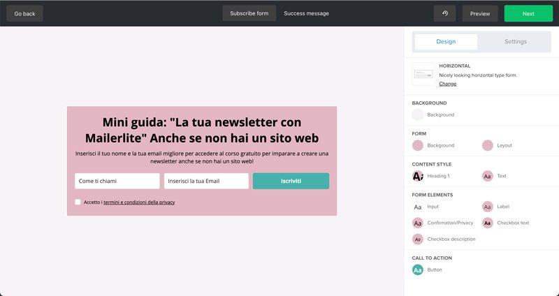 creare una landing page gratis